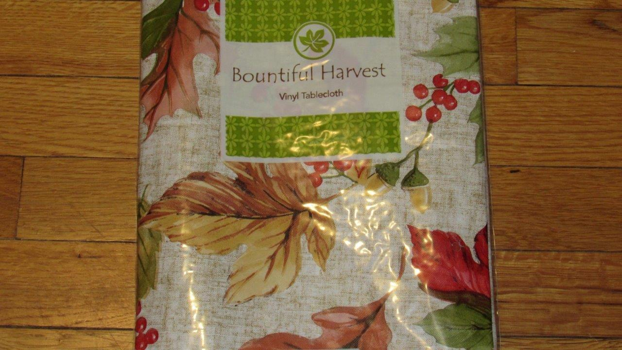 Vinyl Tablecloth Flannel Back Fall Thanksgiving Leaves