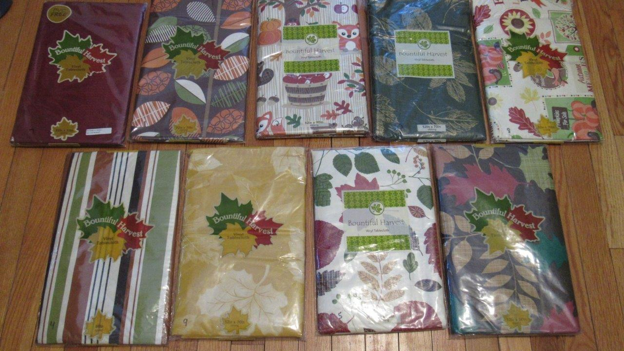 Vinyl Tablecloth Flannel Back Fall Thanksgiving 9 Styles