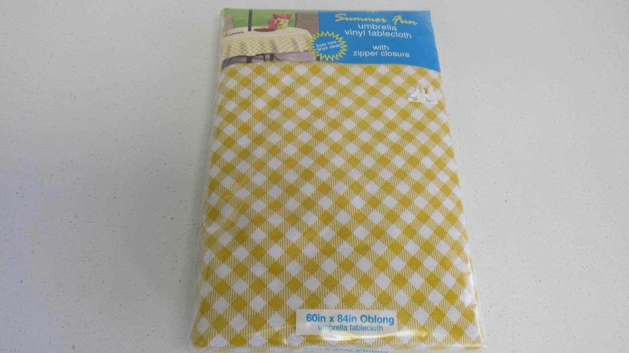 Gingham Checks Vinyl Umbrella Tablecloth Yellow Red Blue