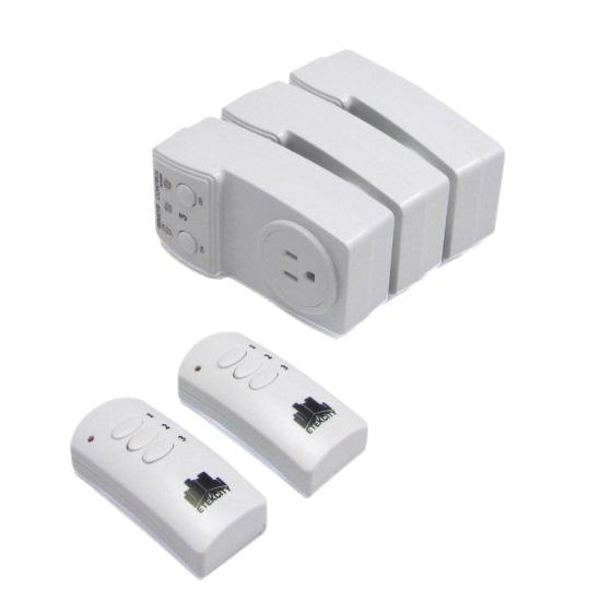 3 pack wireless remote control ac electrical power outlet switch w two remotes ebay. Black Bedroom Furniture Sets. Home Design Ideas