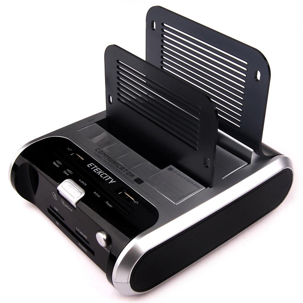 USB 2.0/e SATA Dual Hard Drive/HDD Desktop Docking Station Card Reader USA Sale | eBay