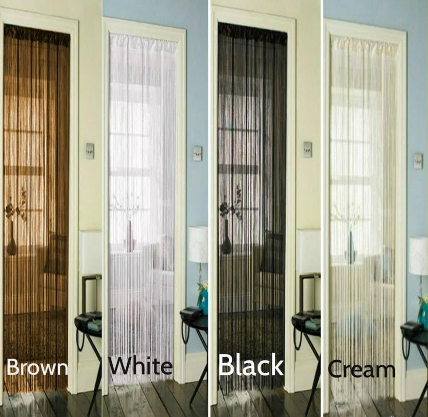 ART DECO WHITE BLACK CREAM BROWN STRING DOOR CURTAIN 90 X