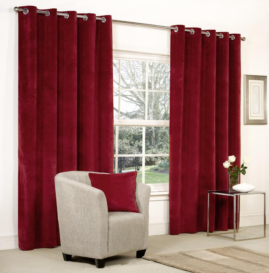 Grey White Brown Curtains: VELVET RINGTOP LINED WINDOW & DOOR CURTAINS BROWN RED GREY