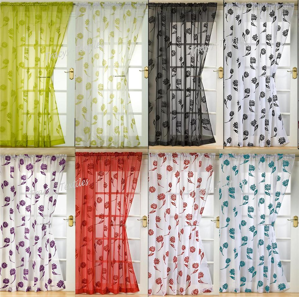 "Voile Panel Net Curtain 14 Great Designs 48"" 54"" 72"" 90"" ~ Many ... for Coloured Net Curtains  1lp1fsj"