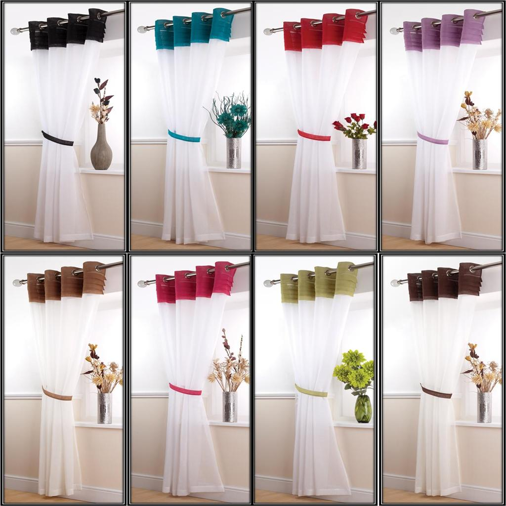"Voile Panel Net Curtain 14 Great Designs 48"" 54"" 72"" 90"" ~ Many ... for Coloured Net Curtains  67qdu"