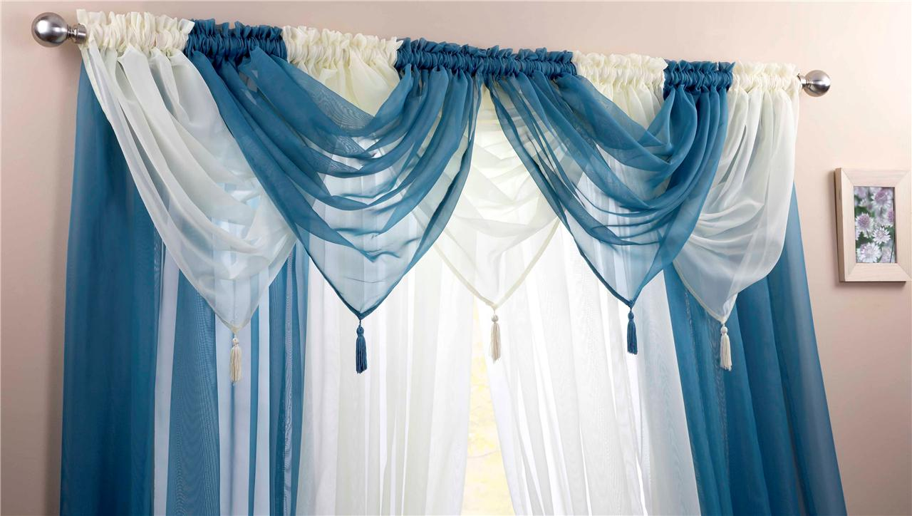 TEAL Amp IVORY VOILE SWAGS CURTAIN PANELS