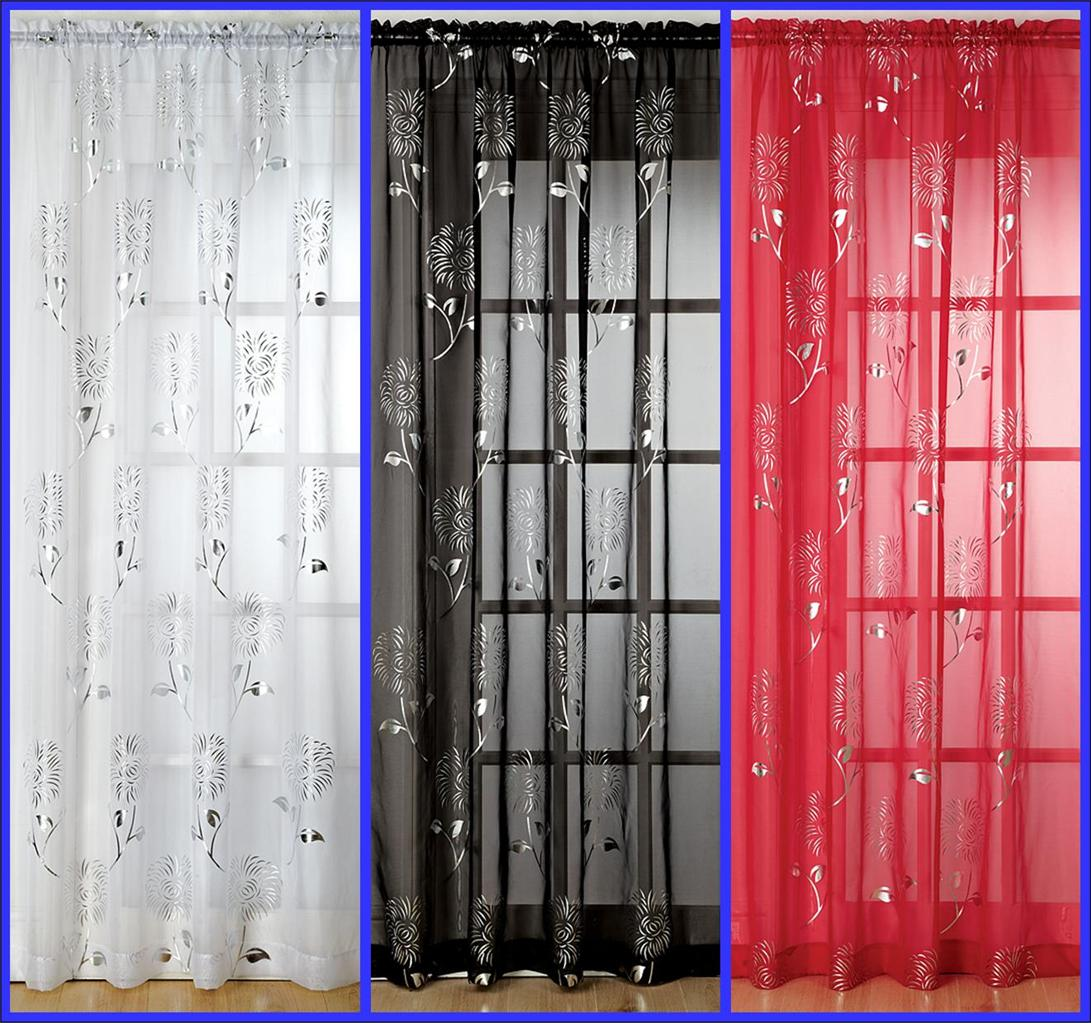 Slot Top Voile Curtain Panel Silver Design On Red Black