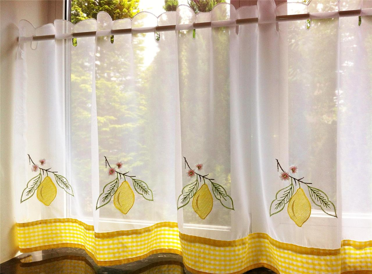 yellow kitchen curtains yellow lemon voile cafe net curtain panel kitchen curtains 28720