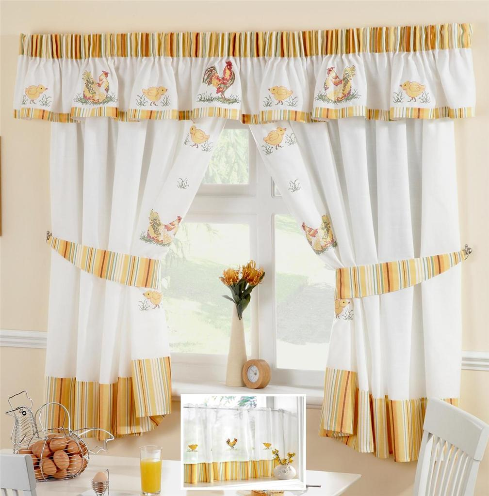 CHICKENS & ROOSTERS VOILE CAFE NET CURTAIN PANEL KITCHEN