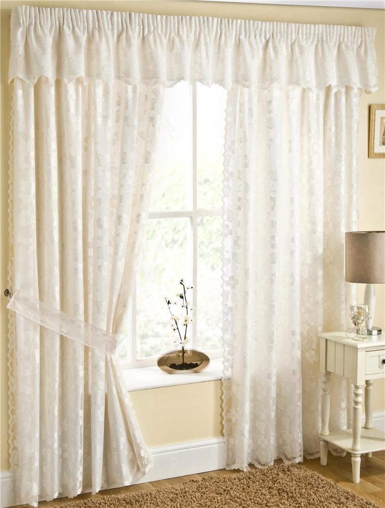 Fiji Fully Lined Cream Lace Curtains With Butterflys