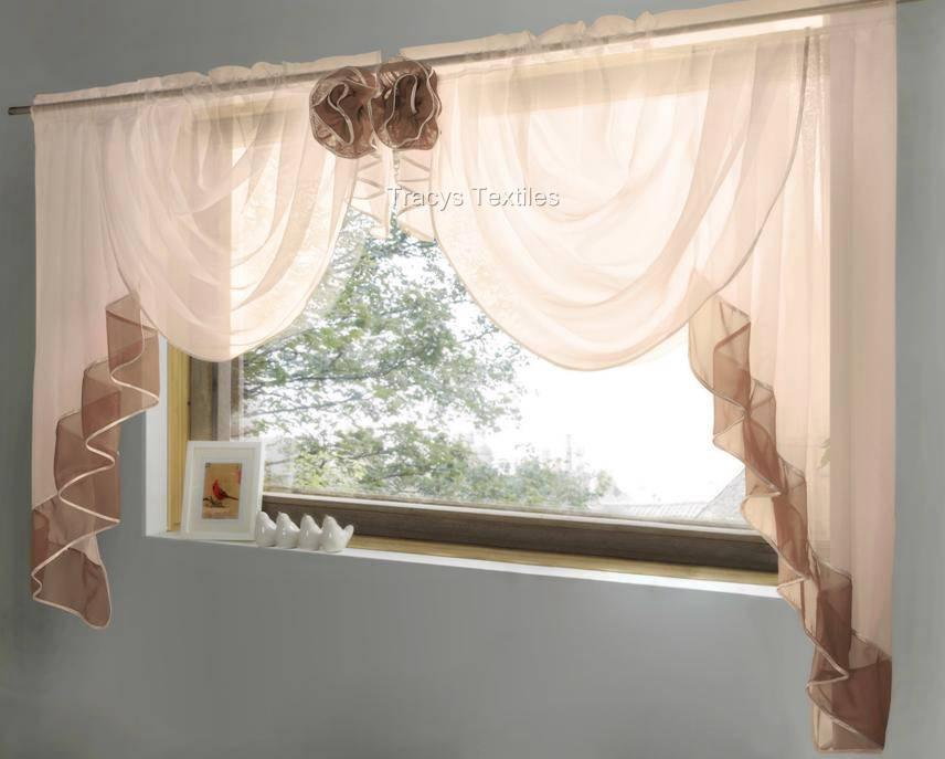 Pretty Rosette Voile Swag Amp Tail Curtain Window Set Many