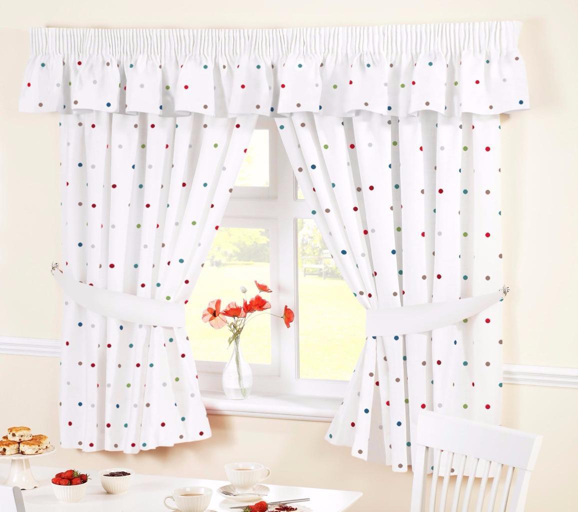 Dotty Polka Dot White Kitchen Curtains Many Sizes