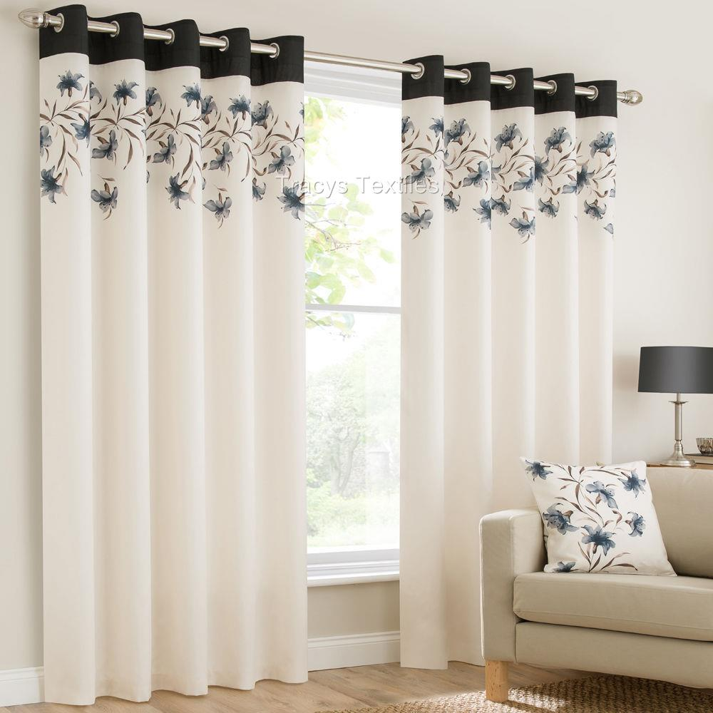 Lily Ring Top Fully Lined Floral Eyelet Curtains Red Blk