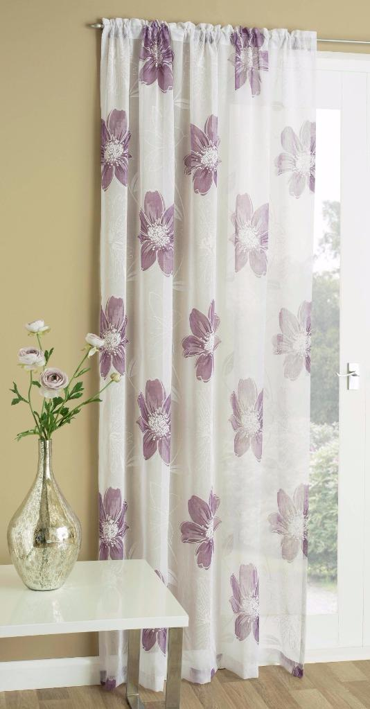 Peony White Linen Like Sheer Voile Curtain Panel Grey