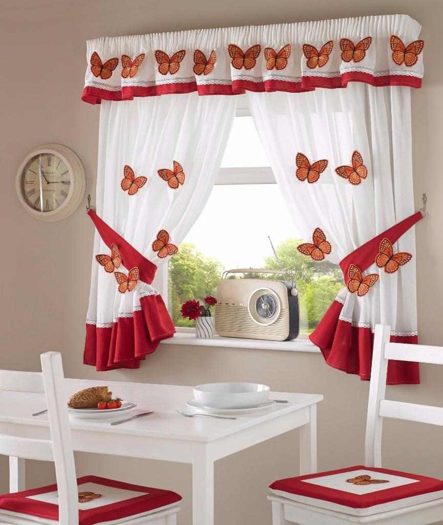One Pair Of 3D Red Butterfly Design Kitchen Curtains