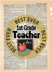 Best Ever 1st Grade Teacher Dictionary Art Print Contemporary Teachers Gift