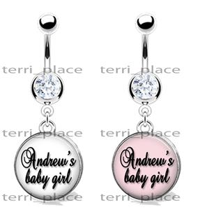 Details About Custom Name Baby Girl Glass Top Belly Ring Navel Piercings Cz Gem 14ga 3 8 Love
