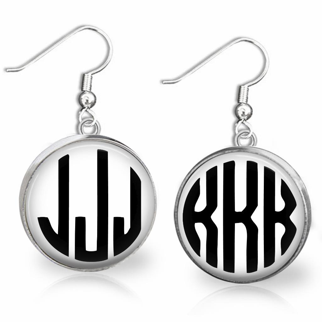 Personalized Monogram Earrings in alloy Initials Earring,Custom Gift for Mother