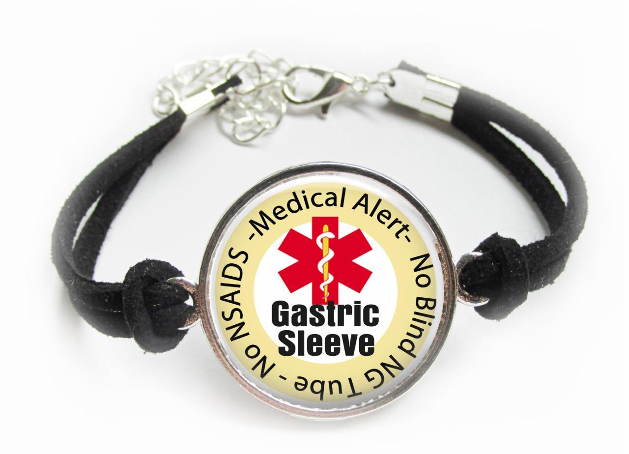 Medical Alert Bracelet >> Details About Gastric Sleeve Medical Alert Bracelet Leatherette Cord Bariatric Surgery Alert