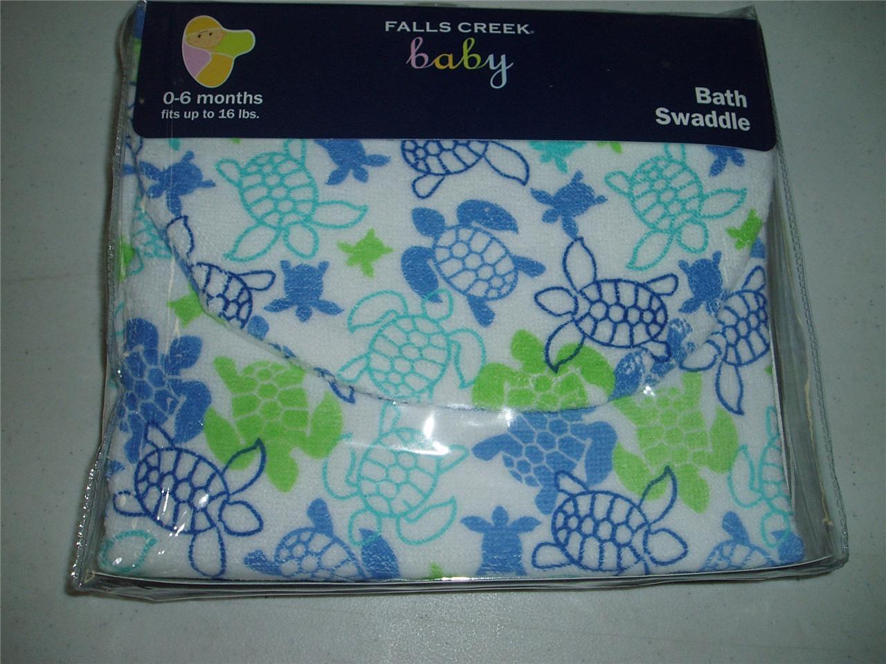 Falls Creek Baby Bath Swaddle Towel Turtle Fish Or