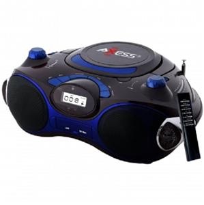 axess portable boombox mp3 cd player with am fm radio usb port sd mmc slot blue 818443011923 ebay. Black Bedroom Furniture Sets. Home Design Ideas