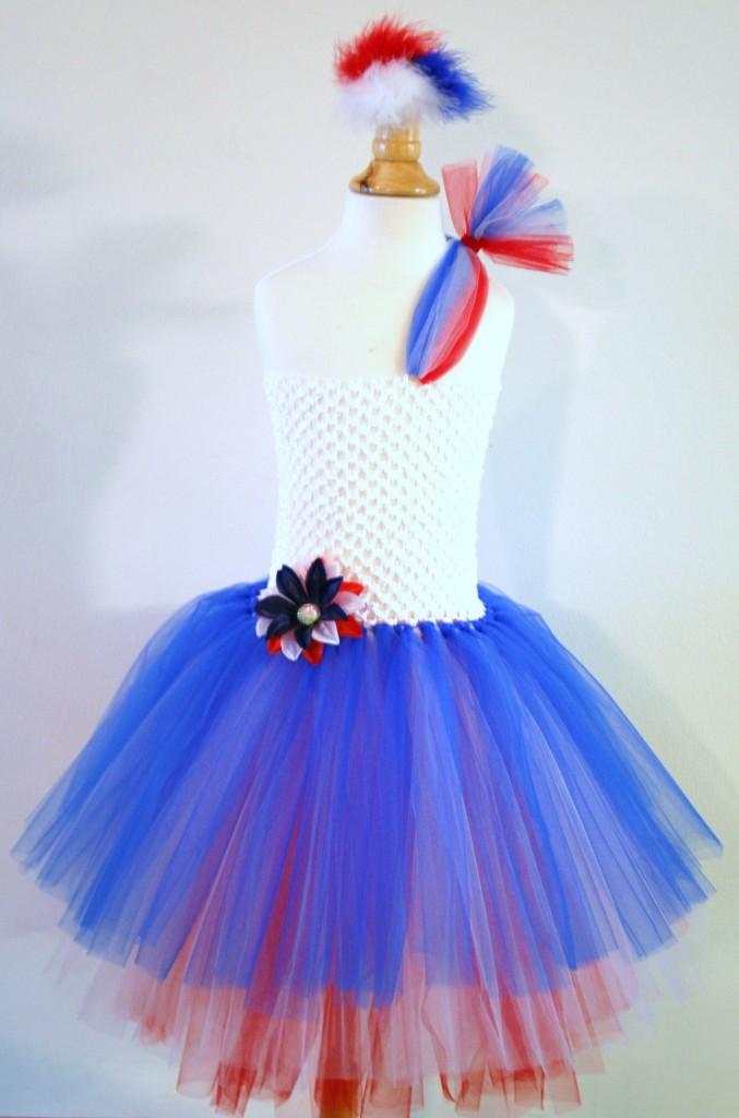 Baby Girls Tutu Dress Skirt 4th July Red White Blue Headband Pageant Infant Sz 8