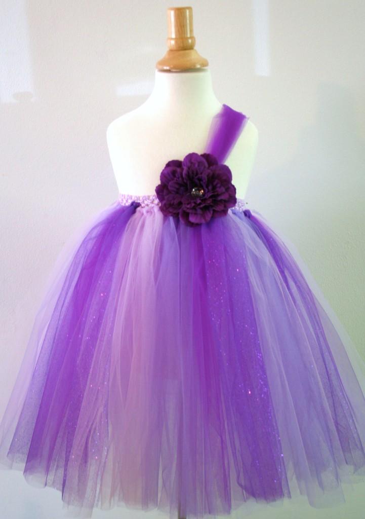 Baby Girls Tutu Dress Skirt Purple Flower Glitter Pageant Flower Infant Size 8