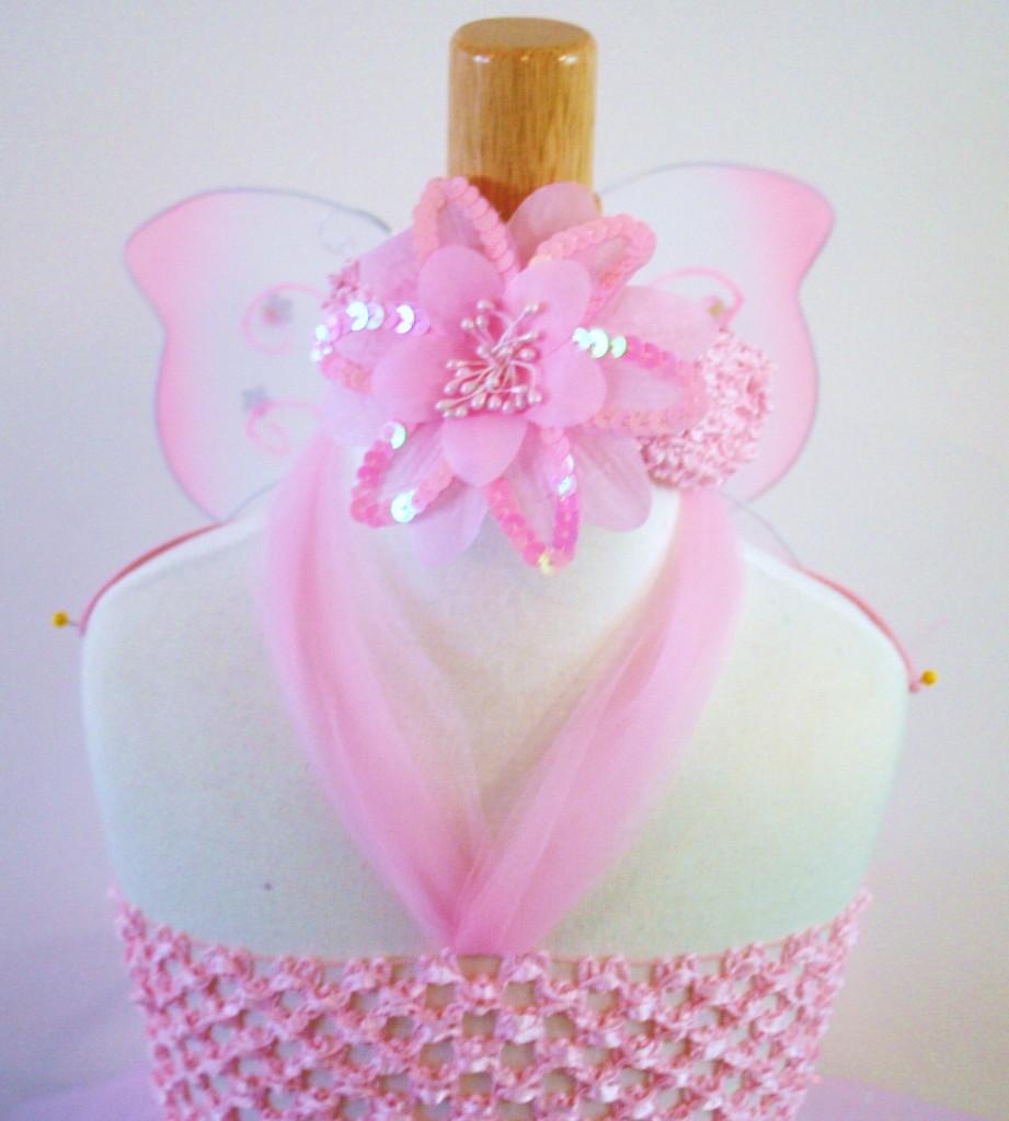 Baby Girls Tutu Dress Skirt Pink Flower Headband Butterfly Wings Infant Size 6