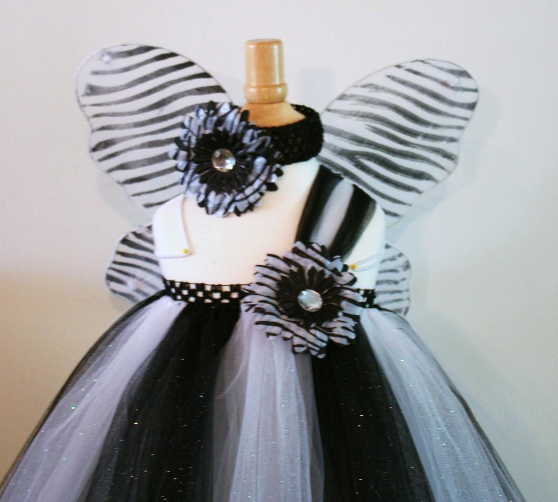 Baby Girls Tutu Dress Skirt Black White Zebra Butterfly Wings Headband Size 4 8