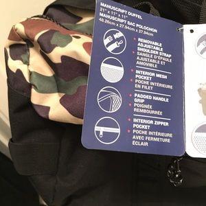 New Champion Manuscript Camo   Black Gym Duffle Duffel Bag NWT  af65d6365a947