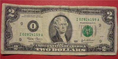2003 Circulated Us Two Dollar 2 Federal Reserve Note I