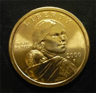 2000 P Sacagawea Us Dollar Gold Coin Circulated Golden