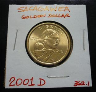 2001 D Sacagawea Us Dollar Gold Coin Circulated Golden