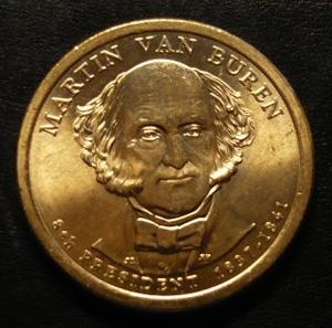 Martin Van Buren 2008d Gold Dollar Type 1 Clad Coin 8th