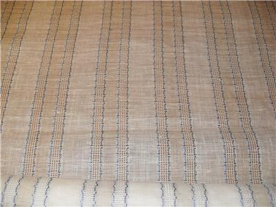 Blue Ivory 100 Linen Stripe Drapery Fabric New Open Weave