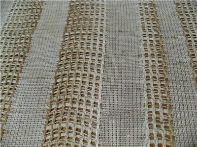 Nutria Brown Stripe Open Weave Drapery Fabric New Casement