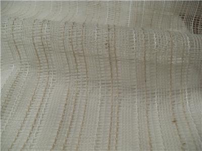 Sheer Cotton Linen Blend Very Fine Open Weave Woven Stripe
