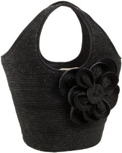 SPADE Lawn Party BLACK STRAW tote FLOWER Tate Cinch Top Hobo Purse Bag