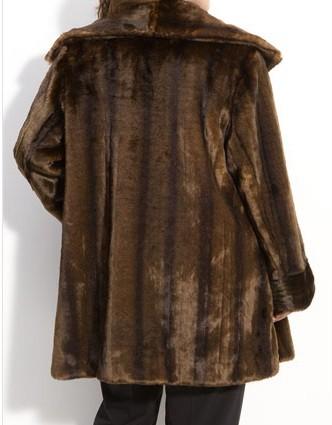 Jones New York Faux Fur Swing Women's Coat Winter Jacket