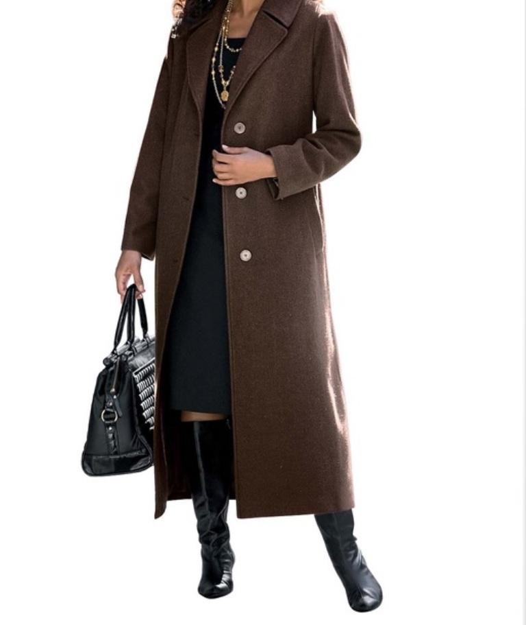 women 39 s outerwear winter fall gift wool blend long coat dress jacket plus3x4x 5x ebay. Black Bedroom Furniture Sets. Home Design Ideas