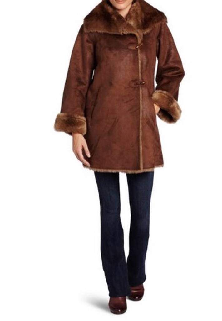 Jones New York Women's Winter Heavy Swing Faux Suede Coat