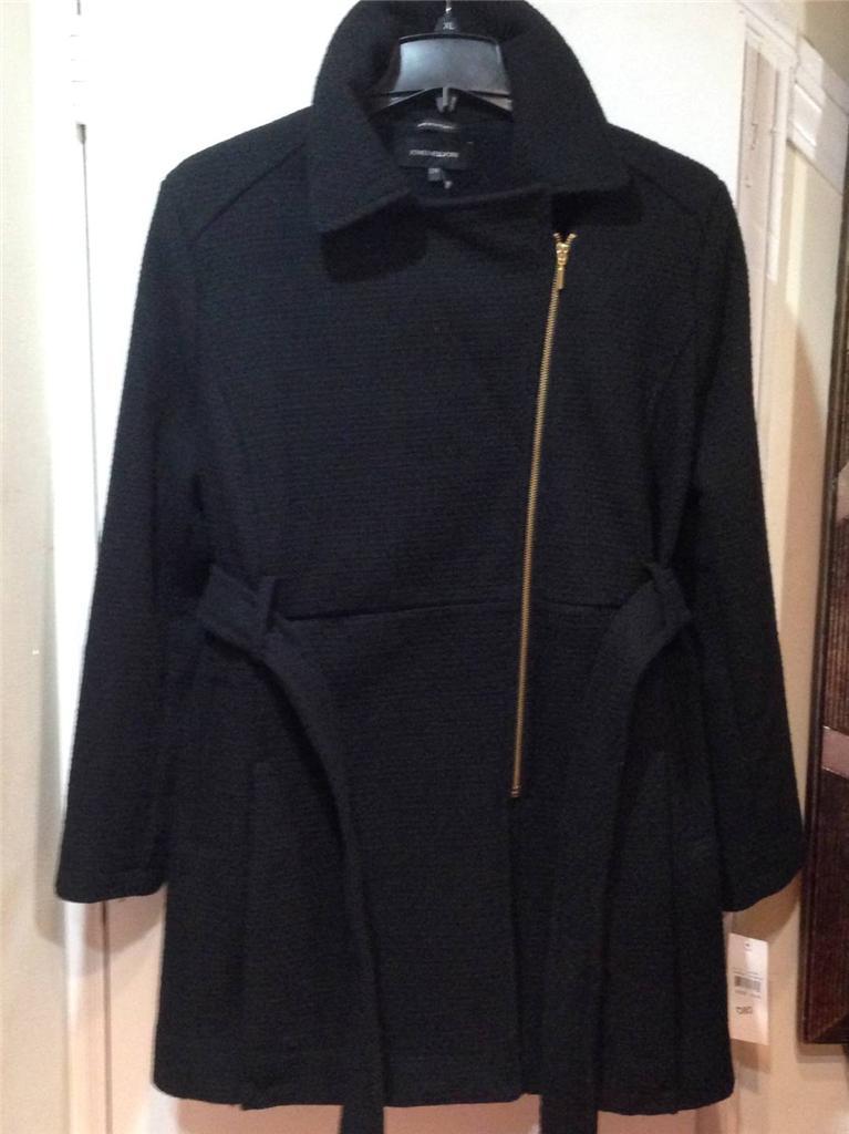 Jones new York Women's Winter Black Tweed Wool blend coat