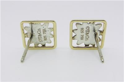 These gorgeous square daisy flower earrings are authentic Tiffany & Co.  sterling silver and 18K yellow gold stamped in the back ©T&Co 925 750, the  posts are ...