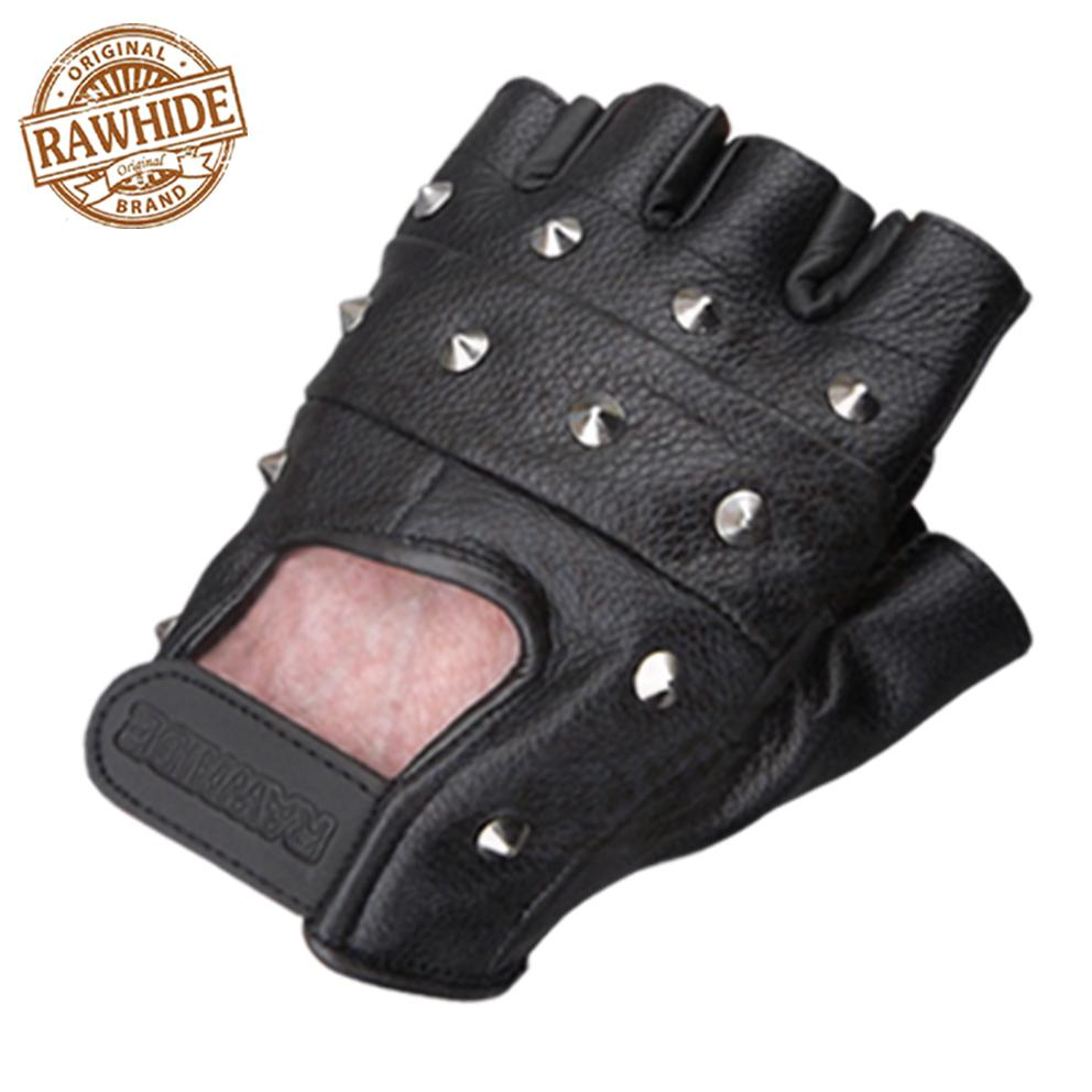 LEATHER FINGERLESS GLOVES BIKERS GYM DRIVING CYCLING ...