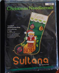 sultana christmas needlecraft kit new jeweled stocking 15 jack in the box 1249 new unopened stamped for simple applique on felt 60 rayon 40 wool easy - Jack In The Box Open Christmas Day