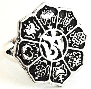 8 Auspicious Symbols Sterling 925 Silver Ring Tibet Tibetan Buddha