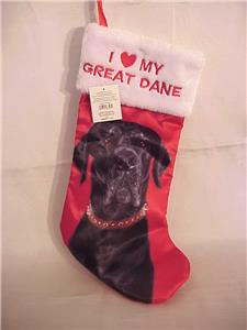 Details about Holiday Time Great Dane Christmas Stocking I Love My Great  Dane ~ NWT!
