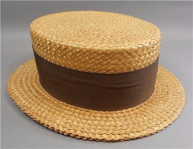 fed9920610722 Vtg or Antique Stetson Select Mens Straw Boater Skimmer Hat 6 3 4 Brown  Ribbon