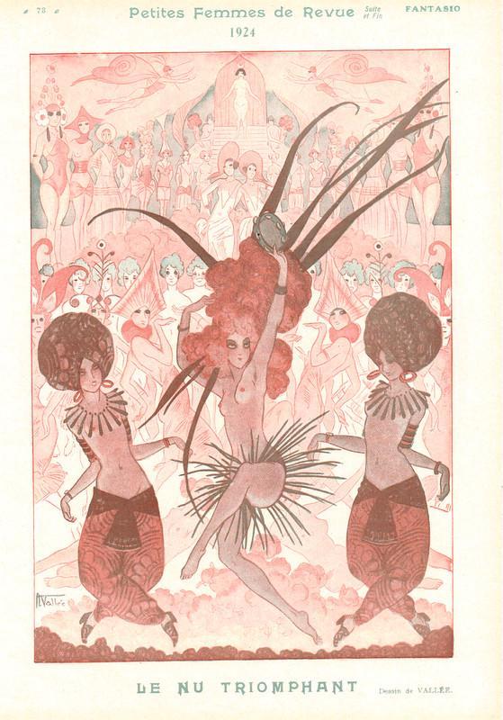 1924 Original French Art Deco Print Music Hall Revue  Topless Girls Vallee F564  Ebay-2093