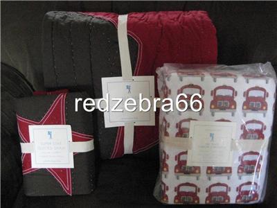 Pottery Barn Red Botanical Quilt 3 Shams Bed Mattress Sale